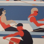 Eliza Southwood, Swimmers, Limited Edition Linocut Print, Art Deco, Sports Art 3
