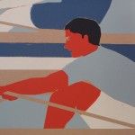 Eliza Southwood, Swimmers, Limited Edition Linocut Print, Art Deco, Sports Art 5