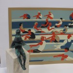 Eliza Southwood, Swimmers, Limited Edition Linocut Print, Art Deco, Sports Art
