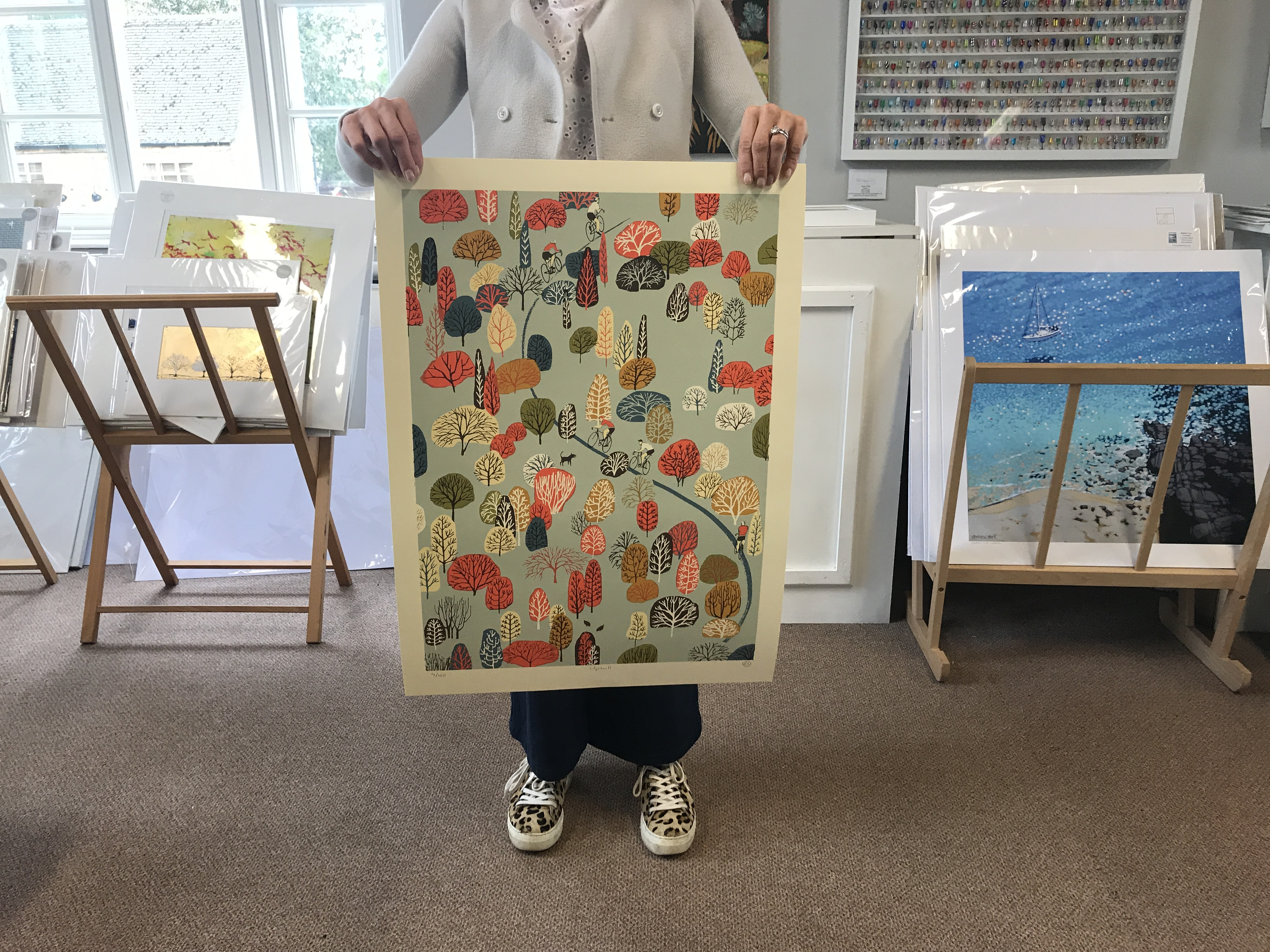 Eliza Southwold's Uphill limited edition print pictured for scale.