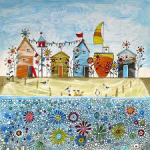 beach huts and flowers