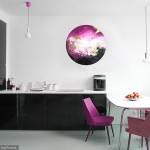 Corinne Natel-Pink Ocean-abstract circle painting-interior setting