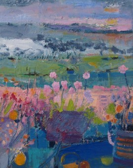 Flowers on the Decking, Estuary Behind 48 x 48 cm    framed oil on canvas