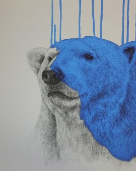 'Hey There Polar Bear - Cool Blue', Screened Giclee on Somerset Velvet 330gsm Paper, 60x60cm (2016) jpg