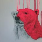 'Hey There Polar Bear – Neon Pink', Screened Giclee on Somerset Velvet 330gsm Paper, 60x60cm (2016) jpg