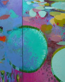 Teresa Pemberton Lily Pond in the Landscape 100 x   220 cm oil on canvas (diptych) Wychwood Arts