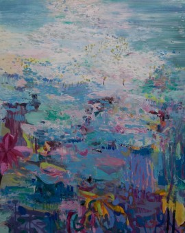 Teresa Pemberton Pond Jewels acrylic and oil on canvas (unframed) 100 X 120  cm Wychwood Art