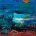 teresa pemberton Rocks and Sea (39 x 39 cm fram d) oil on canvas Wychwood Art