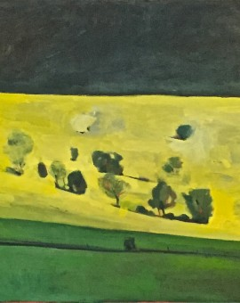 Elaine Kazimierczuk Black, Yellow, Green Wychwood Art 76 x 76cm