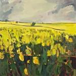 Elaine Kazimierczuk Grey Sky, Yellow Field Wychwood Art 76 x  76cm