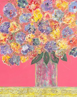 Inner Peace Amy Christie colourful floral print painting flowers vase goldleaf canvas art pink