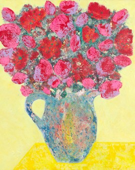 Zest Amy Christie abstract floral flowers vase yellow contemporary art painting print canvas