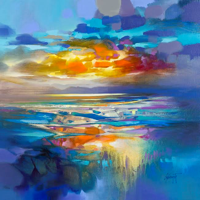 Scott Naismith Artist Liquid Cyan Blue Painting