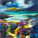 Scott Naismith's painting 'Harris Blue' is an original mixed media painting using oil, acrylic and spray paint on linen