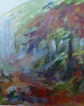Joanna Commings|Autumn Fog 2|Somerset Woods Autumn Fog Trees Expressionist acrylics