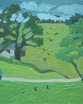 Trees on the green in summer - Wychwood Art - Andrea Allen