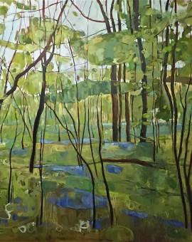 Elaine Kazimierczuk Bluebells In Ploughman Wood, Wychwood Art 127x127cm