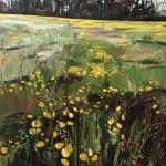 Elaine Kazimierczuk Buttercup Meadow along Binsey Lane, Oxford, Wychwood Art 97 x 97cm