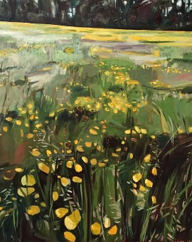 Elaine Kazimierczuk Buttercup Meadow along Binsey Lane, Oxford, Wychwood Art 97 x 97cm