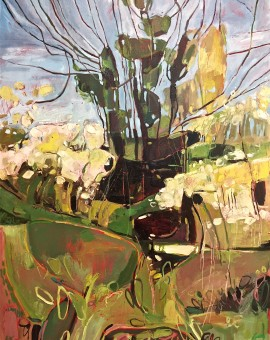 Elaine Kazimierczuk,Spring Hedgerow with Ivy Clad Tree, near Burford, Whychwood Art
