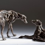 Jane Shaw : Dominance II : Pair of Lurchers : Bronze Animal sculpture : Dogs : greyhounds