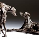 Jane Shaw : Dominance II : Pair of Lurchers : Bronze animal sculpture : dogs : 2