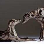 Jane Shaw : Dominance II : Pair of Lurchers : Bronze animal sculptures : Dogs : 6