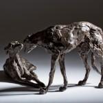 Jane Shaw : Dominance II : Pair of Lurchers : Bronze animal sculptures : dogs :3