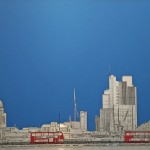 Waterloo Bridge, brushed aluminium print, Michae Wallner, Wychwood Art
