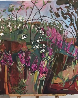 Elaine Kazimierczuk Summer Hedgerow triptych Eglantine, Bramble, Elder, and Rose Bay Willow Herb Wychwood Art