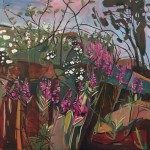 Elaine Kazimierczuk Summer Triptych, central panel, eglantine,  bramble, rose bay willow herb Wychwood Art