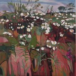 Elaine Kazimierczuk Summer Triptych, left panel, eglantine and  Rose Bay Willow Herb Wychwood Art
