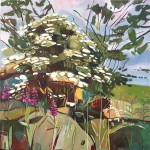 Elaine Kazimierczuk Summer Triptych, right panel, elder bush, rose  bay willow herb Wychwood Art