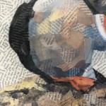 Paul Bartlett, Scratch, Puffin Art, Limited Edition Print - mixed media art, contemporary art, conservation art - close up 1