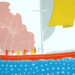 Simon Tozer Demeter ship screenprint detail Wychwood art