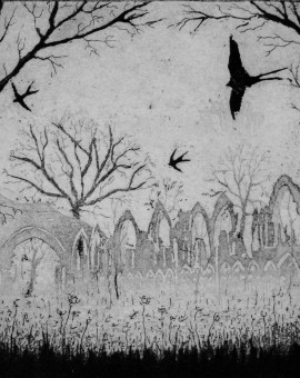 Tim Southall. Swallows Over The Abbey. Wychwood Art
