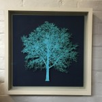 Blue-Oak-Tree-Mixed-Media-Museum-Frame-Blue-Art-framed