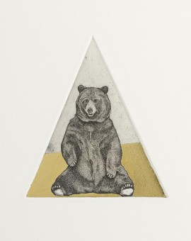 Guy Allen_Bear Study_Etching, aquatint and gold leaf_8x8cm