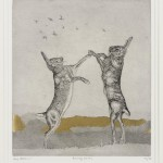 Guy Allen_Boxing Hares_Etching, aquatint and gold leaf_27x23cm