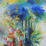 Mary Chaplin Blue agapanthus and crocosmias Wychwood Art