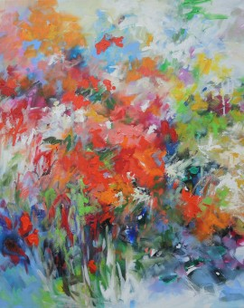 Mary Chaplin Snapdragon and blue flowers Wychwood Art