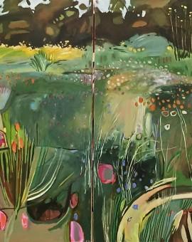 E;laine Kazimierczuk Diptych, Merton Beds, Oxford Botanic Gardens both panels, Wychwood Art