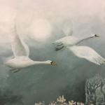 Swans-Flying-High-landscape-art-wychwood-art-galley-deddington-oxfordshire