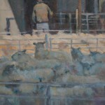 Colin Allbrook. The sheep market. Wychwood art. Detail