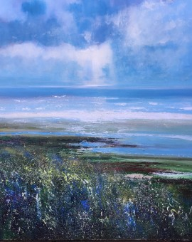 Jonathan Trim Ebb Tide Contemporary Seascape on mixed media 100x100cm £1800