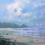 Jonathan Trim High Summer Charmouth Contemporary Seascape on mixed media 80x60cm£1000