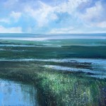 Jonathan Trim Low Tide Contemporary Seascape on mixed media 80x80cm £1200