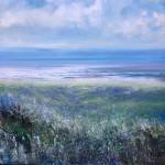 Jonathan Trim Sea Lavender Contemporary Seascape on mixed media 80x80cm £1200