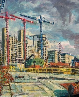 Robert Barlow - Media City Construction At Salford Quays - wychwood Art.jpeg.
