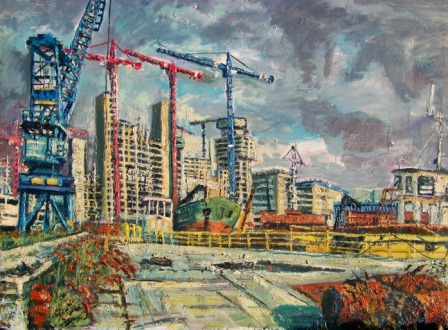 ORIGINAL OIL PAINTING – 'Media City Construction At Salford Quays'